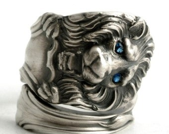 Lion Ring with Blue Eyes, Sterling Silver Spoon Ring, Leo Ring, Blue Spinel Ring, Wild Animal Ring, Big Cat Lover, Custom Ring Size (6436)