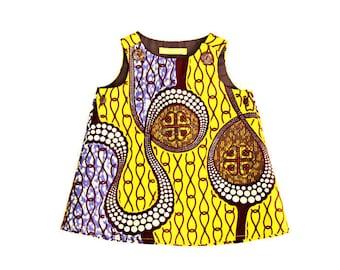 Baby pinafore dress, yellow African Print baby dress, ankara baby pinafore dress, yellow and lilac ankara, ready to ship,