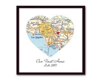Our First Home Housewarming Gift, New Homeowner Personalized Map New House Gift, House Warming Heart Map, Realtor Closing Gift, Wedding Gift