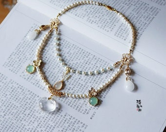 Handmade Asian style genuine pearl and quartz jade necklace double