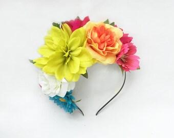 Side Flower Headband, Frida Kahlo, Flower Crown, Floral Headband, Side Flower Headband, Mexican Flower Crown, Fiesta, Mexican Headpiece