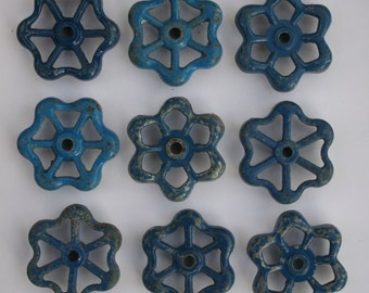 9 Blue Vintage Faucet Handles-Funky knobs-Super Shabby Chic Blue-Shipping Special-Furniture rehab accessories-Outdoor projects