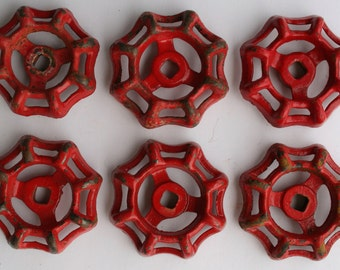 6 Red Faucet Handles-Valve Handles-Shipping Special-Steampunk , Potting Shed, Old handles,Garden spigot -Industrial Handles,Potting Bench