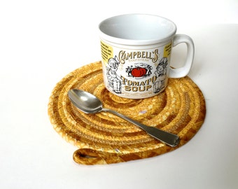 Clothesline Coiled Rope Trivet - Golden Sunshine Snack Mat - Handmade Fabric Placemat - Large Mug Rug - Homemade Mouse Pad - OOAK Fiber Art