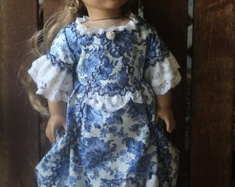 Elizabeth's colonial blue willow afternoon tea dress for 18in  American girl dolls