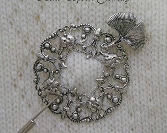 Shawl Pin, Silver Wreath Gingko Leaf Shawl Pin, Stick Pin, Gingko Leaf Shawl / Scarf Pin