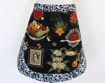 Apron-Artist Frida Kahlo-Frieda-Reversible 2 Aprons in One! Mexican Folk Art-Folklorico-Heart-Hand Milagro-Flowers-Cactus-Day of the Dead