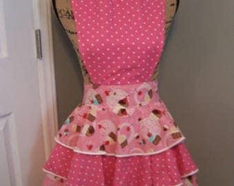 Pink Ruffled Apron - Full Ruffled Apron - Pink Tiered Ruffle Apron - Muffin Ruffle Apron - Cupcake Ruffle Apron - Small Ruffle Apron