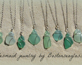 Real Sea glass wedding necklaces bridesmaid gift mermaid jewelry beach wedding gifts natural beach glass mothers day jewelry green jewelry