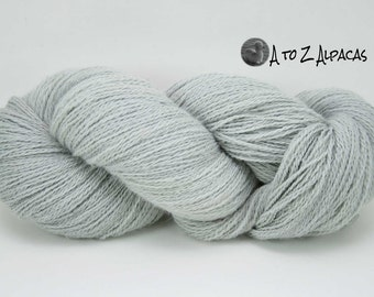 Hand Dyed Royal Baby Alpaca Yarn Sock Weight- Silver Gray