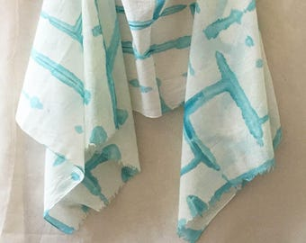 Turquoise Scarf, Watercolor Scarf, Hand Painted Scarf, Shibori Scarf, Woman's Cotton Scarf, Beach Scarf, Cotton Scarf, Boho Scarf, Festival