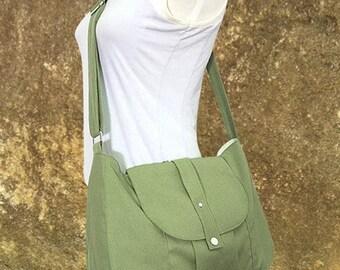 Mothers Day Sale 20% off Grass green canvas messenger bag / shoulder bag / everyday bag / diaper bag / cross body bag - 6 pockets