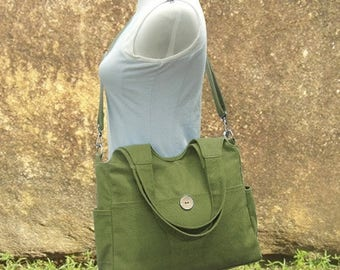Fathers Day Sale 20% off Grass green tote bag, messenger bag for women, canvas diaper bag, travel bag