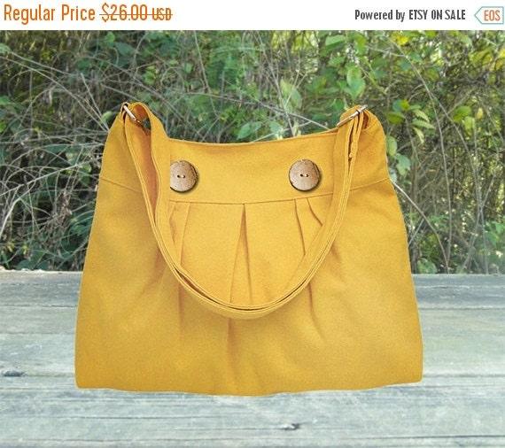 March Sale 10% off Golden cotton canvas travel bag / shoulder bag / messenger bag / diaper bag / cross body bag