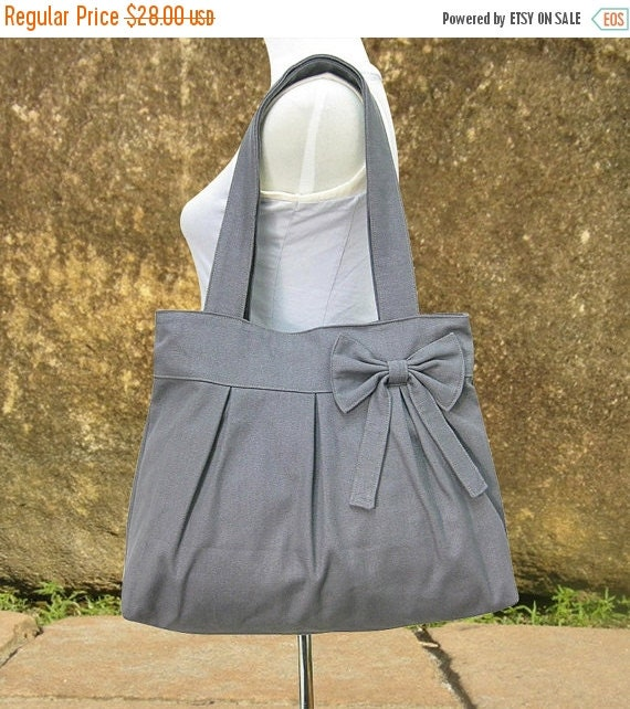 March Sale 10% off Gray canvas tote bag, fabric shoulder bag for women