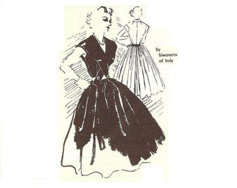 1950s Cocktail Dress Pattern, By Simonetta of Italy, V Neckline, Full Skirt, Size 16, Bust 38, Spadea S 229, FF, Vintage Sewing Pattern
