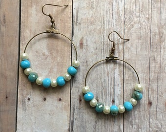Gorgeous aqua and pearl beaded hoop earrings