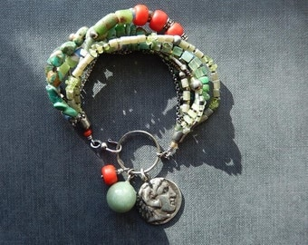 Multistrand Bracelet with Green Turquoise, Ancient Silver Coin and Gemstone Charms, Birthday Present, Ancient Greek Coin, Gift for Her
