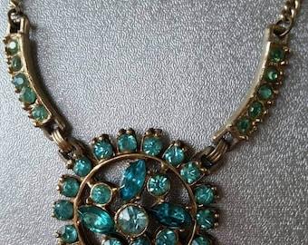 Vintage 1930s art deco style aqua rhinestone necklace