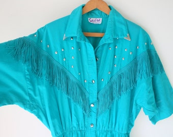 1960s WESTERN FRINGE Dress....size medium to large...retro. teal. western. country. mod. blue dress. 60s dress. cowboy. cowgirl. southern