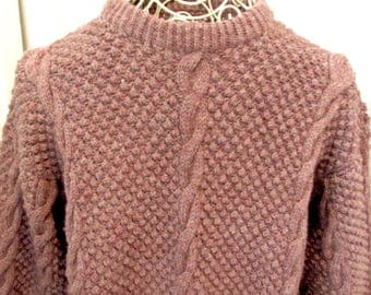 Vintage Irish sweater, unisex cable sweater, Irish wool sweater, brown wool sweater, boho wool sweater, New Zealand wool, Fishermans sweater