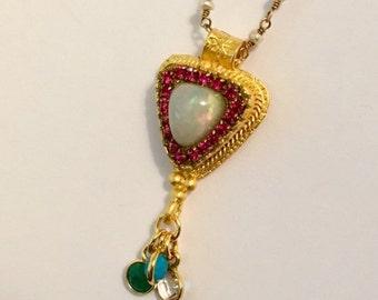 HOLIDAY SALE Ethiopian opal dangle charm pendant