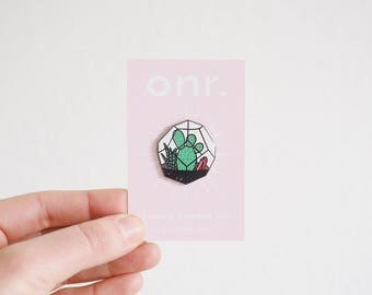 Terrarium Enamel Pin // enamel pin - pin badge - cactus pin - succulent pin - plant pin - lapel pin - flair - enamel jewellery