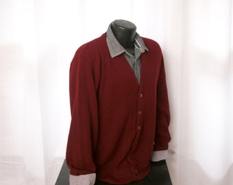 Men's 1950's Cardigan, Burgundy Cardigan Sweater, by King's Road,  Size Large
