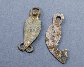 Set of 2 Antique metal charms, pendants, connectors, finding, dark patina