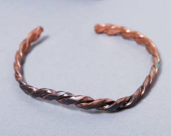 Vintage solid copper weave cuff bracelet, ethnic style bracelet.