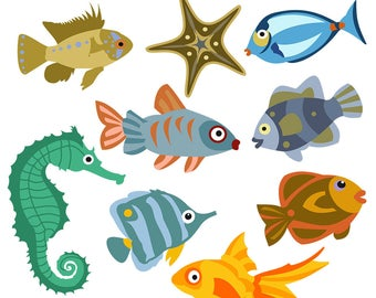 Fish Clipart, Fish Clip Art, Seahorse Clipart, Angelfish Clipart, Goldfish Clipart, Starfish Clipart, Digital Download, Royalty Free