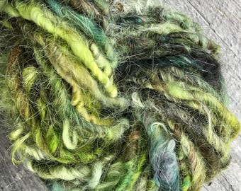 Hand Spun Yarn Wild and Wooly Over Dyed Rustic Green