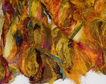 100g Recycled Sari Silk Ribbon Yarn,yellowmulti,  free shipping 3.5 oz / 100 grams Fuzzy free shipping