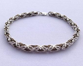 Sterling Chainmail, Byzantine Weave, Chainmail Bracelet, Petite, Byzantine Chain, Silver Chainmaille, Byzantine Bracelet, Niobium Jewelry