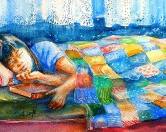 """Original watercolour   """"Afternoon Nap"""" - SALE  kids room decor, home decor ,Painting, patchwork quilt, craft painting,Mothers day Gift,"""