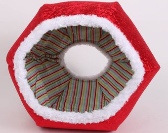 Red Velvet Christmas pet bed with white fur trim and striped lining - the Cat Ball kitty cave for your fur baby