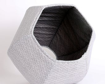 Black and White Cat Ball cat bed with Abstract Cells Design