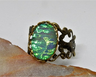 Green Opal Ring, Resin Opal Ring. Adjustable Opal Ring, Green Ring, Green Opal