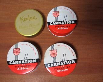 4 Vintage Metal Typewriter Ribbon Tins, Carnation & KeeLox, Collectible
