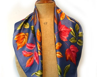 Vintage autumn fall leaf 100% silk satin scarf, leaf head scarf