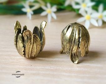 2pcs Large 3 Petals Flower Bead Caps-Tulip Tassel Cap