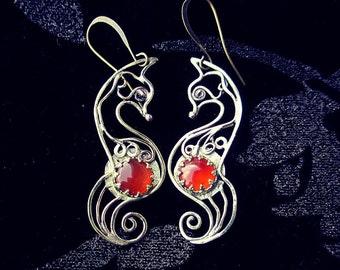 Fox earrings, orange carnelian earrings, gold color fox earrings, fox jewelry, gold fox, red fox earrings, filigree earrings, animal jewelry