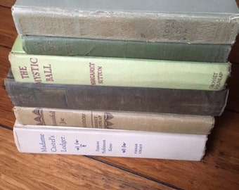Vintage set of 6 books in Neutrals Gray Green and Beige 1910's to 1960's