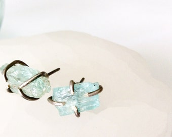 Raw Aquamarine Stud Earrings - March Birthstone - Birthstone Jewelry