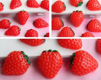 10pcs of resin strawberry cabochons flatback 3size can choose