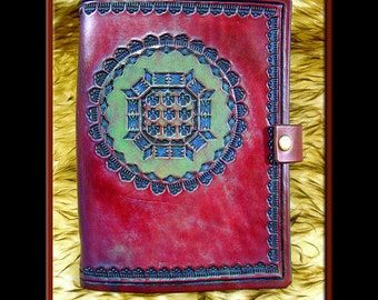 NATIVE AMERICAN MANDALA Design • A Beautifully Hand Crafted Medium Sized Leather Journal. Great for all sorts of notes and creative writing.