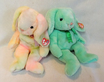 """2 TY Beanie Buddies 14"""" Bunny.. Tie-Dyed Hippie & Green Hippiety.. Retired NWMT"""