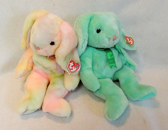 "2 TY Beanie Buddies 14"" Bunny.. Tie-Dyed Hippie & Green Hippiety.. Retired NWMT"