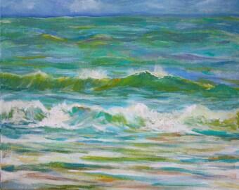 Ocean Painting, Original acrylic beach, seascape, lake nautical, fine art, wall art canvas, home decor, art painting