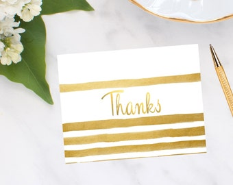 Gold Brush Stripe Note Cards
